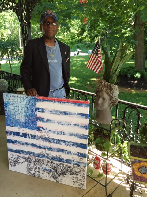 """""""We Are The People"""" Anthony Fearron's mock version of his American Flag Painting"""