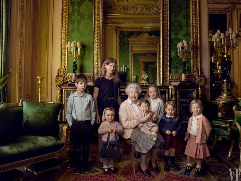 Queen Elizabeth and her great-grandchildren posing for the summer issue of Vanity Fair.