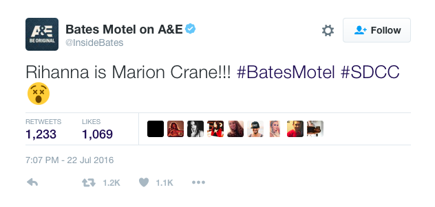 Screen Shot of Bates Motel Tweet Courtesy of Twitter.com