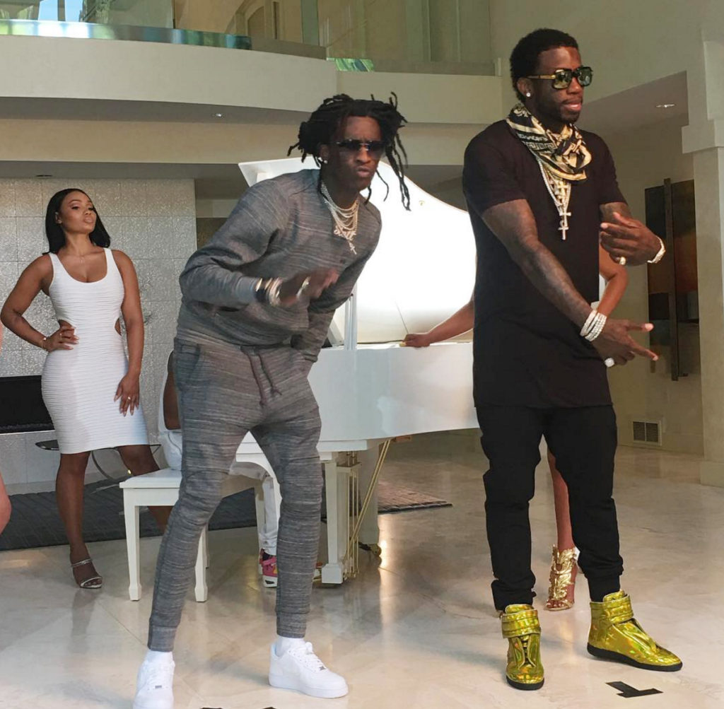 Young Thug and Gucci Mane on set of Guwop Home (By Pigeons and Planes)