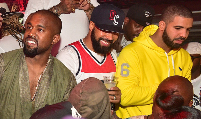 ATLANTA, GA - JUNE 20: Kanye West, Kenny Burns and Drake attend at Compound on June 20, 2015 in Atlanta, Georgia. (Photo by Prince Williams/WireImage) Courtesy of NME.com