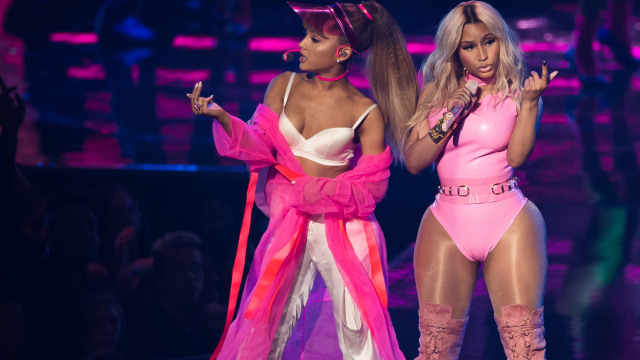 Ariana Grande, left, and Nicki Minaj perform at the MTV Video Music Awards at Madison Square Garden on Sunday, Aug. 28, 2016, in New York. (Photo by Charles Sykes/Invision/AP) via http://1033ampradio.cbslocal.com