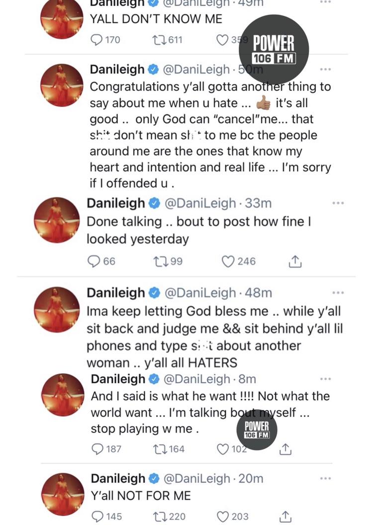 Screenshots from DaniLeigh's Twitter